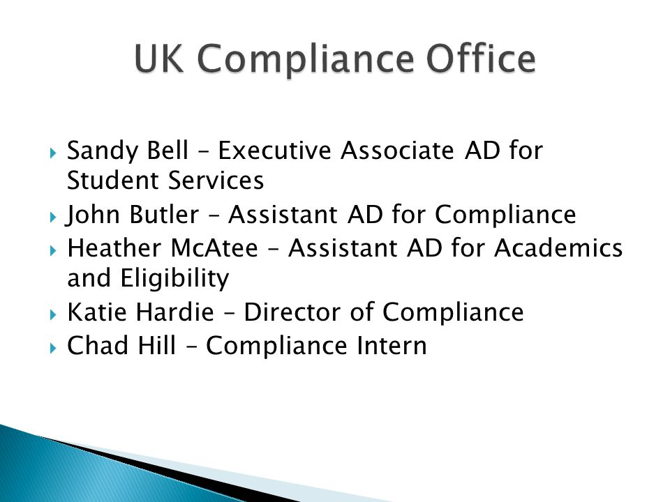University of kentucky compliance office ppt video online download - Assistant compliance officer ...