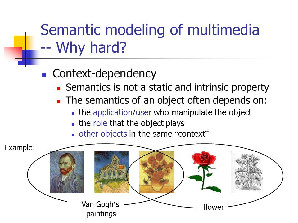 Semantic modeling of multimedia -- Why hard