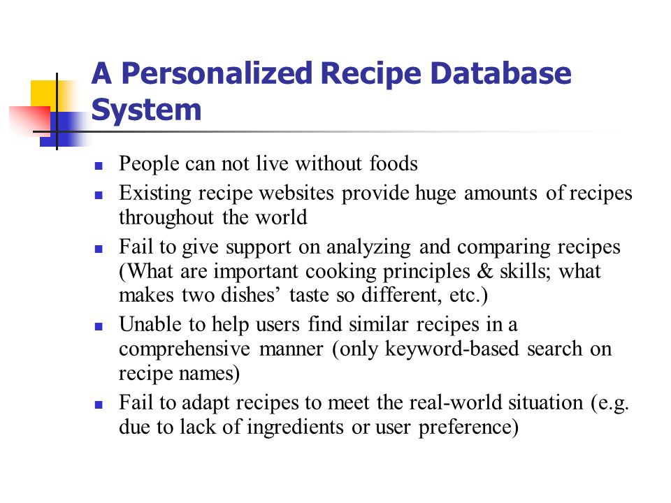 A Personalized Recipe Database System