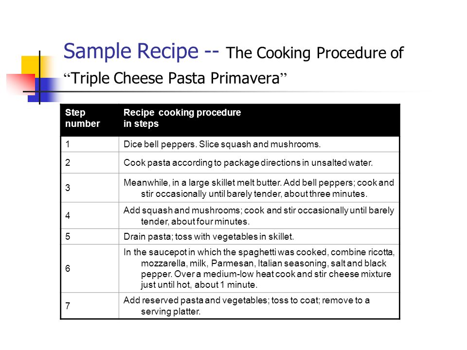 Sample Recipe -- The Cooking Procedure of Triple Cheese Pasta Primavera