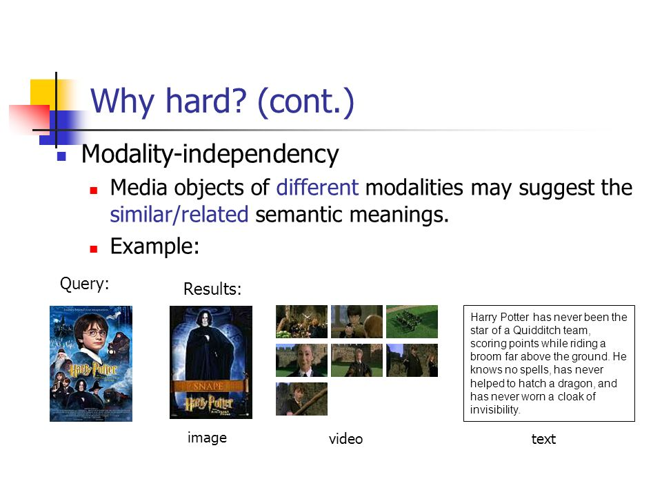 Why hard (cont.) Modality-independency