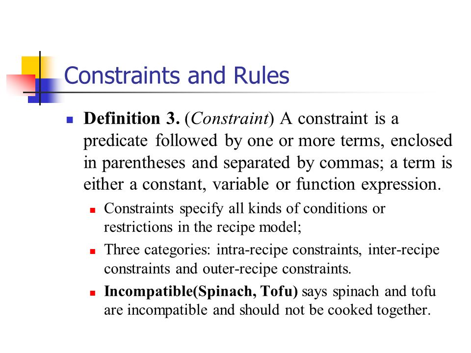 Constraints and Rules