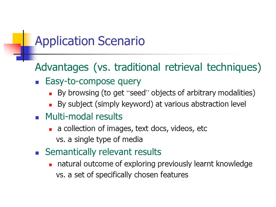 Application Scenario Advantages (vs. traditional retrieval techniques)