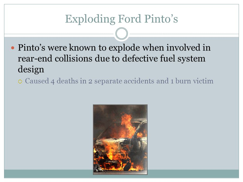 the ford pinto case what moral issues does the pinto case raise 1 what moral issues does the pinto case raise i think pinto case raised some serious issue of abusing human rights and not behaving ethically in the world of business any business/service should never ever put a value on human life and not take consideration of a known deadly danger ford had an.
