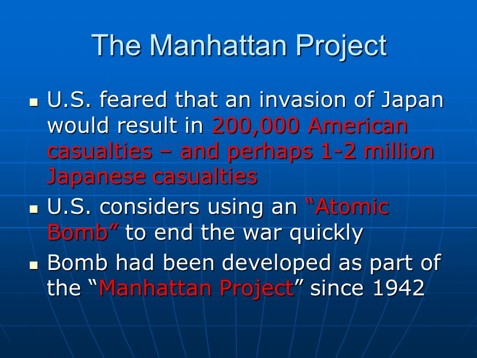 manhattan project atomic bomb and the concept of war since Manhattan project the manhattan project was a secret military project created in  1942 to produce the first us nuclear weapon fears that nazi germany would.