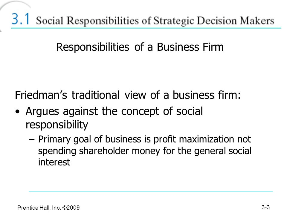 """profit maximization vs social responsible essay The shareholders vs stakeholders debate friedman, """"the social responsibility of business is to increase its profits,"""" new york times magazine."""