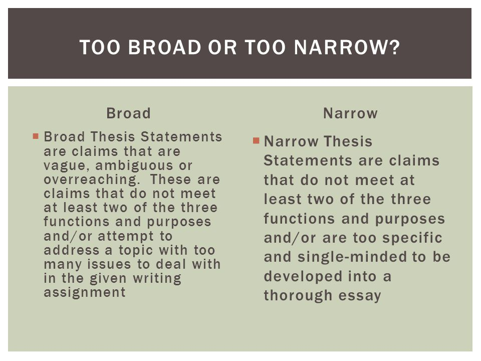 narrow thesis statements Research papers: narrowing your topic for your final draft this article will teach you how to narrow your research topic, clarify your thesis statement.