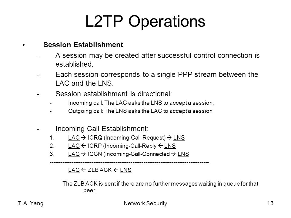 L2TP Operations Session Establishment