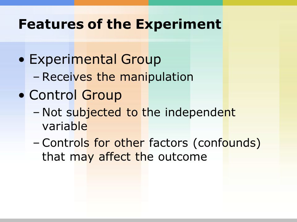 features of experimental research All experimental research will help us understand the other distinguishing characteristics of experimental research only experimental studies can claim to.
