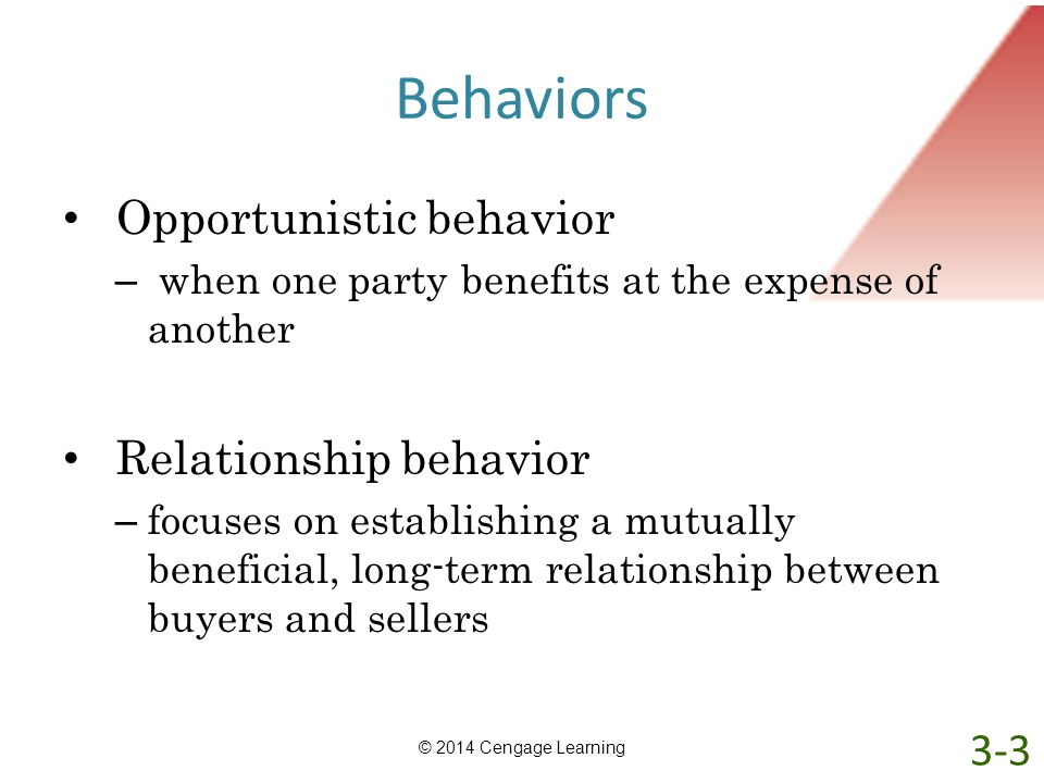 Behaviors Opportunistic behavior Relationship behavior 3-3