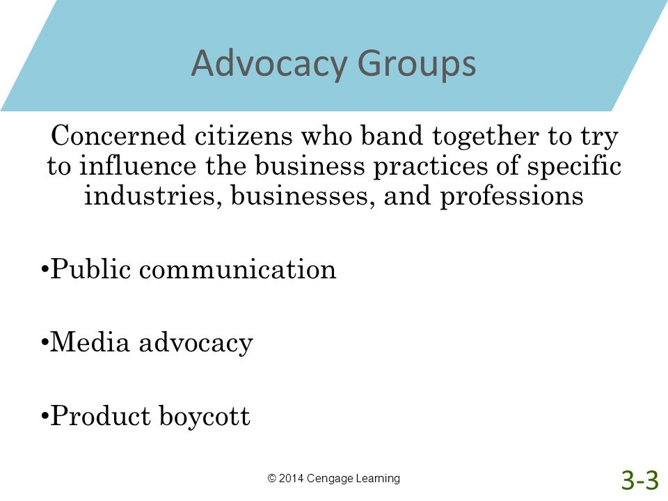 Advocacy Groups Concerned citizens who band together to try to influence the business practices of specific industries, businesses, and professions.