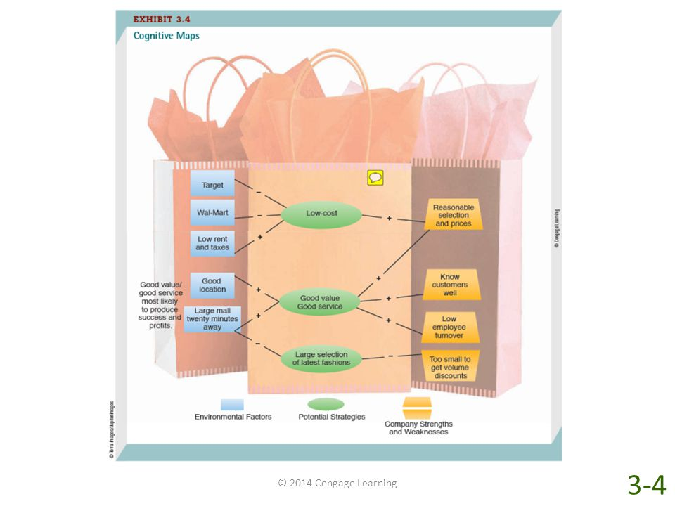 Because it is impossible to comprehend all the factors and changes, managers often rely on simplified models of external environments called cognitive maps. Cognitive maps summarize the perceived relationships between environmental factors and possible organizational actions. For example, the cognitive map shown in Exhibit 3-4 represents a small clothing store owner's interpretation of her business environment. The map shows three kinds of variables. The first set of variables, shown in blue rectangles, are environmental factors, such as a Wal-Mart or a large mall 20 minutes away. The second set of variables, shown in green ovals, are actions that the store owner might take: follow a low-cost strategy; a good value, good service strategy; or a large selection of the latest fashions strategy. The third set of variables, shown in gold trapezoids, are company strengths (low employee turn-over) and weaknesses (small size). The plus and minus signs on the map indicate whether the manager believes there is a positive or negative relationship between variables. For example, the manager believes that a low-cost strategy won't work because Wal-Mart and Target are nearby. Offering a large selection of the latest fashions won't work either—not with the small size of the store and that large mall nearby. However, the manager believes that a good value, good service strategy can lead to success and profits because of the store's low employee turnover, good knowledge of customers, and reasonable selection of clothes at reasonable prices.