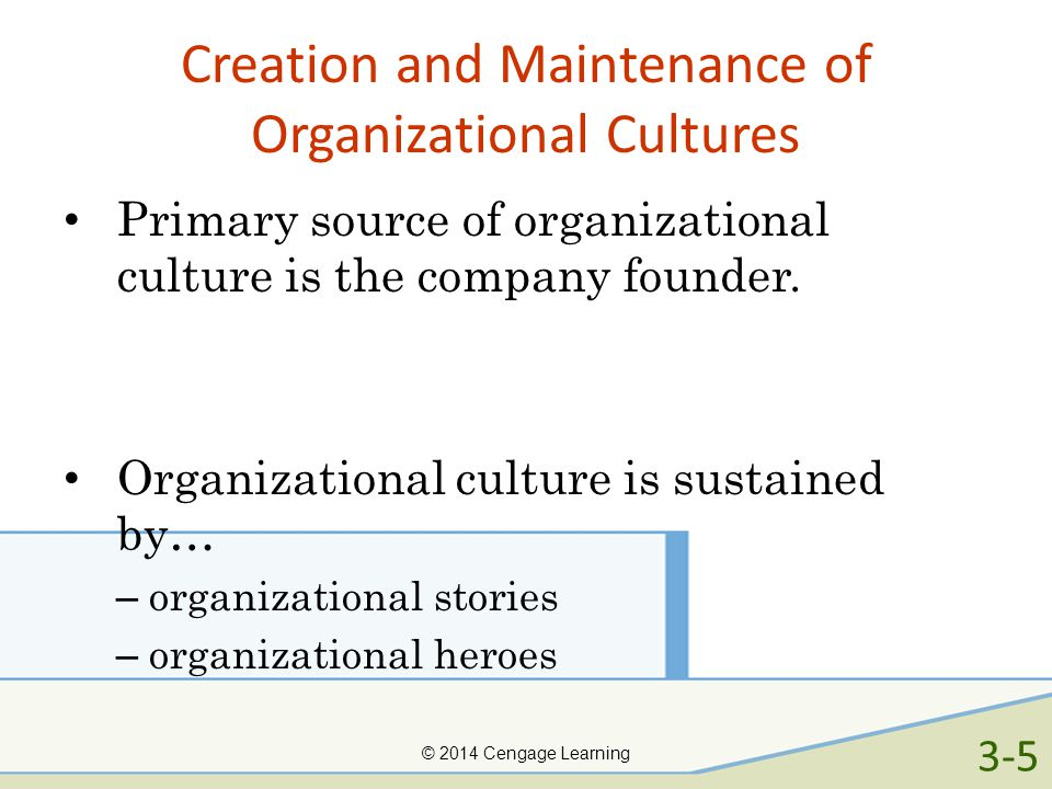 Creation and Maintenance of Organizational Cultures