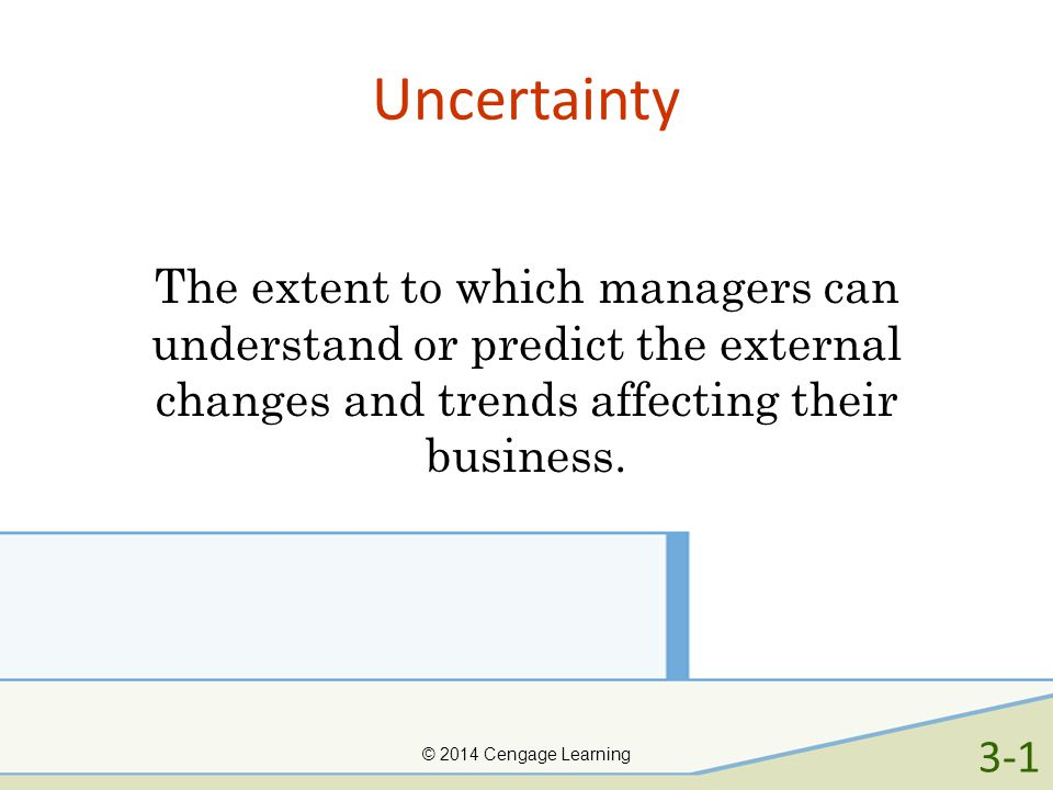 Uncertainty The extent to which managers can understand or predict the external changes and trends affecting their business.