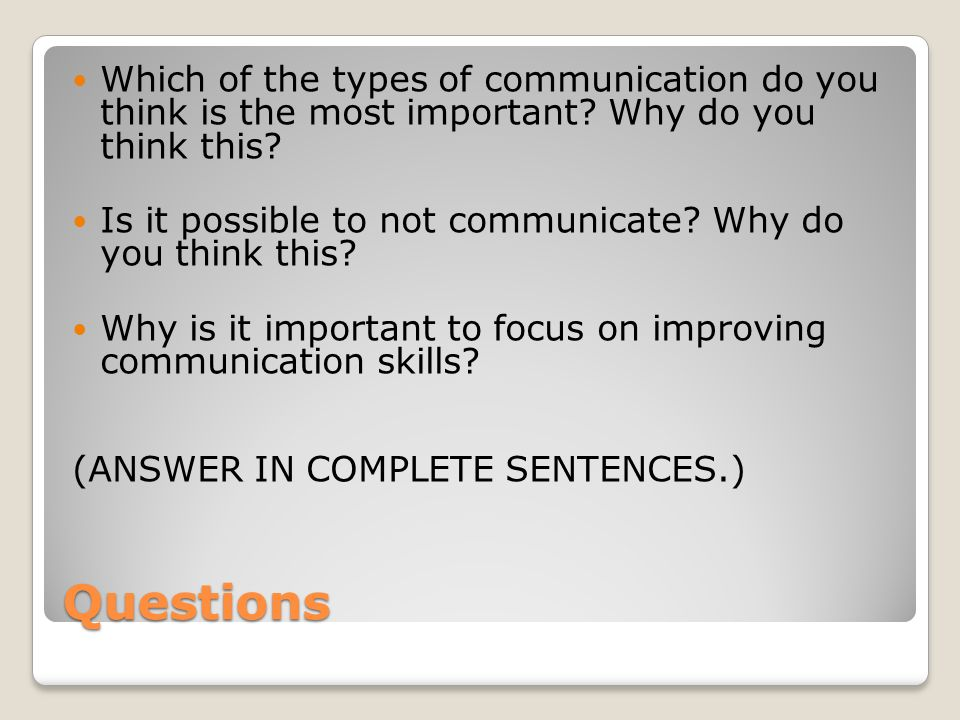 Which of the types of communication do you think is the most important