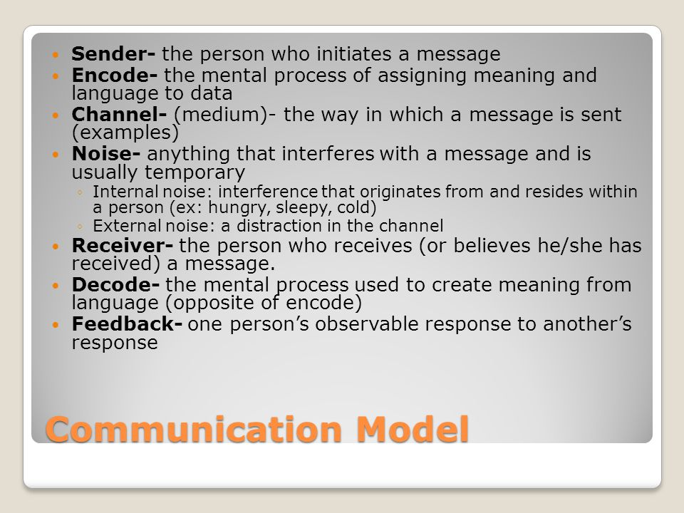 Communication Model Sender- the person who initiates a message