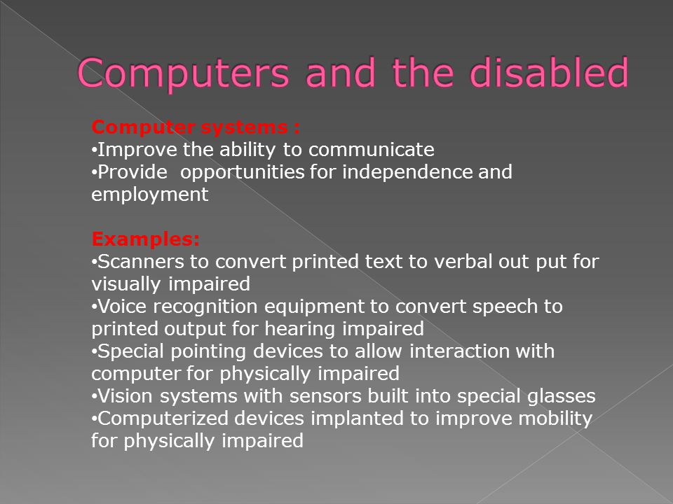 Computers and the disabled