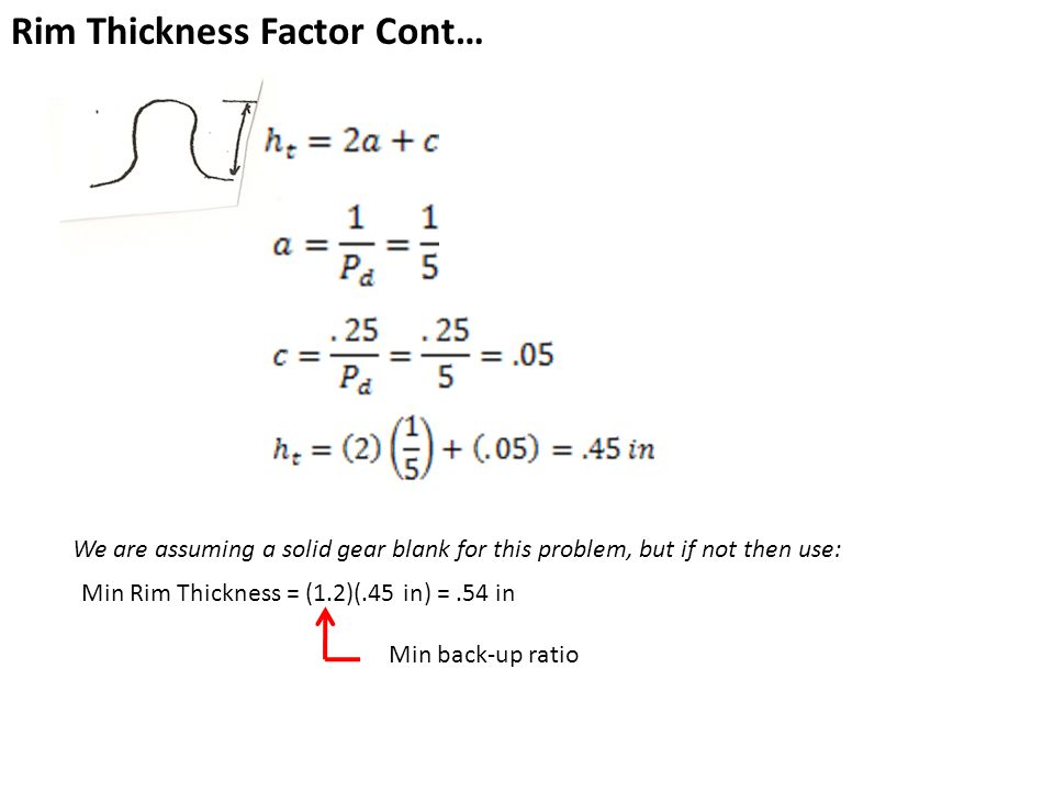 Rim Thickness Factor Cont…
