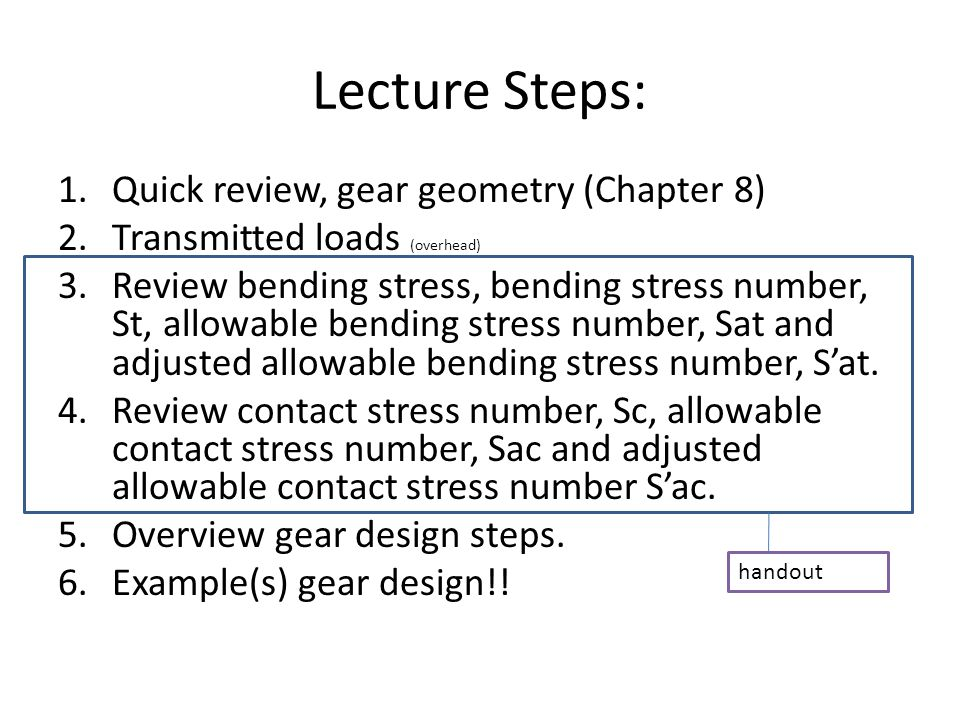 Lecture Steps: Quick review, gear geometry (Chapter 8)