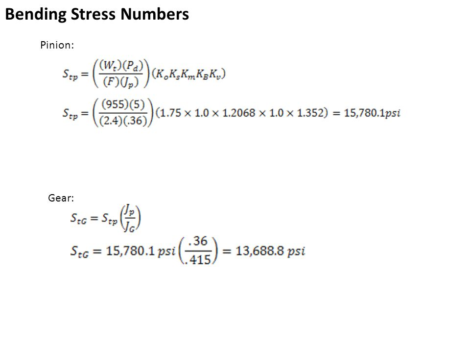 Bending Stress Numbers