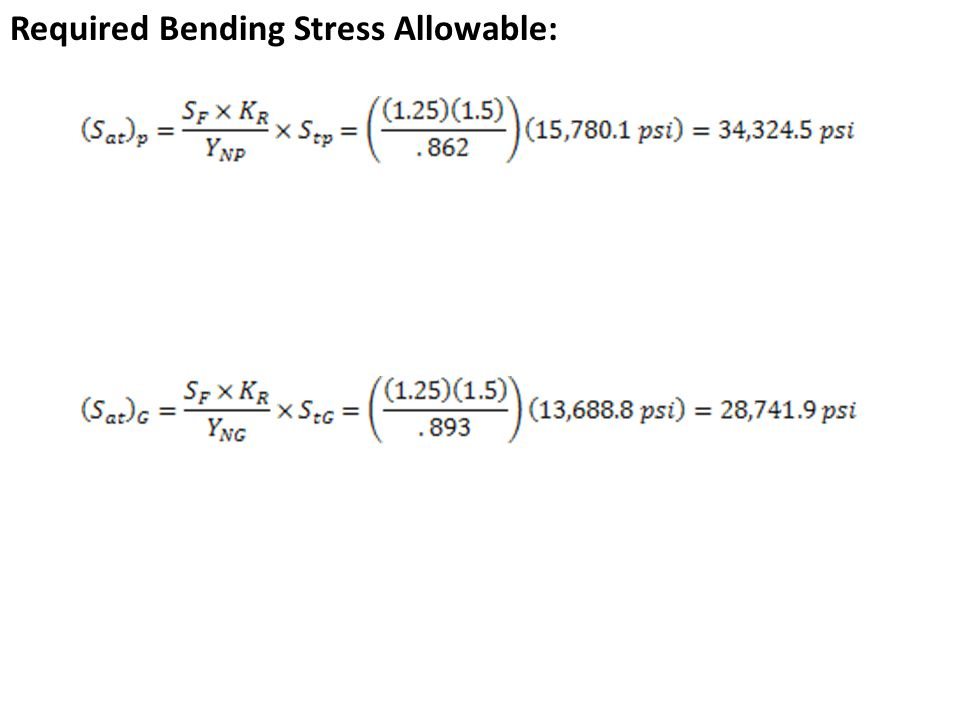 Required Bending Stress Allowable: