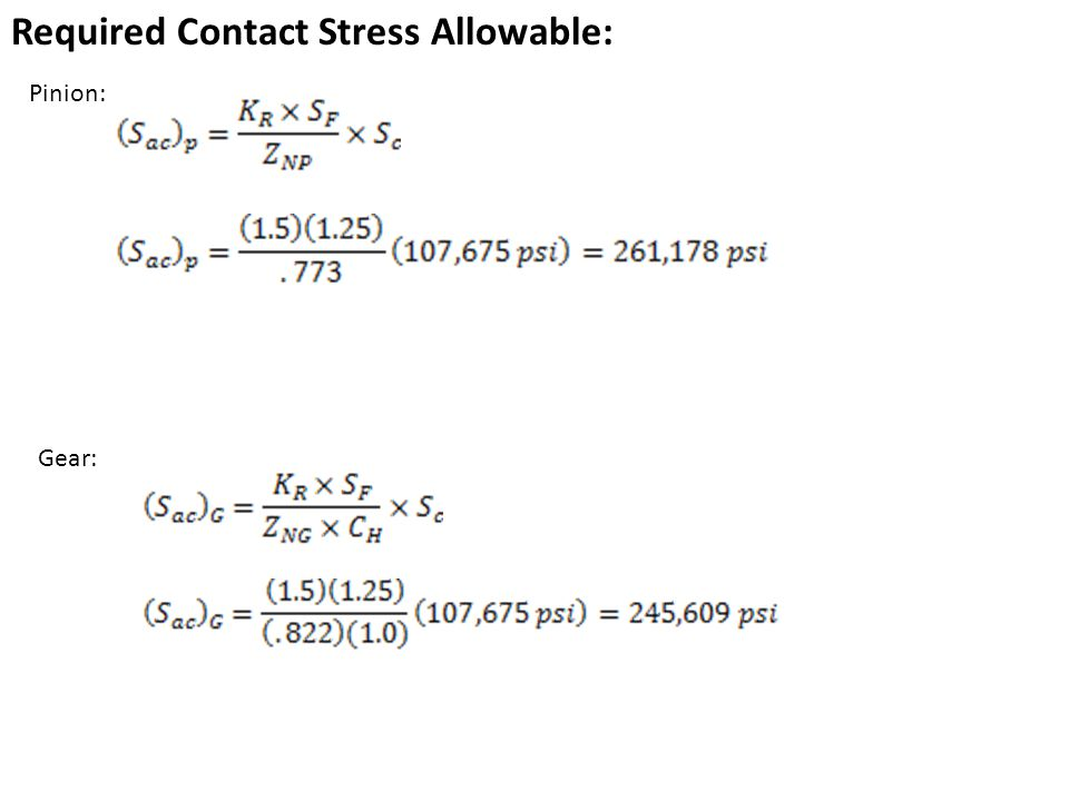 Required Contact Stress Allowable: