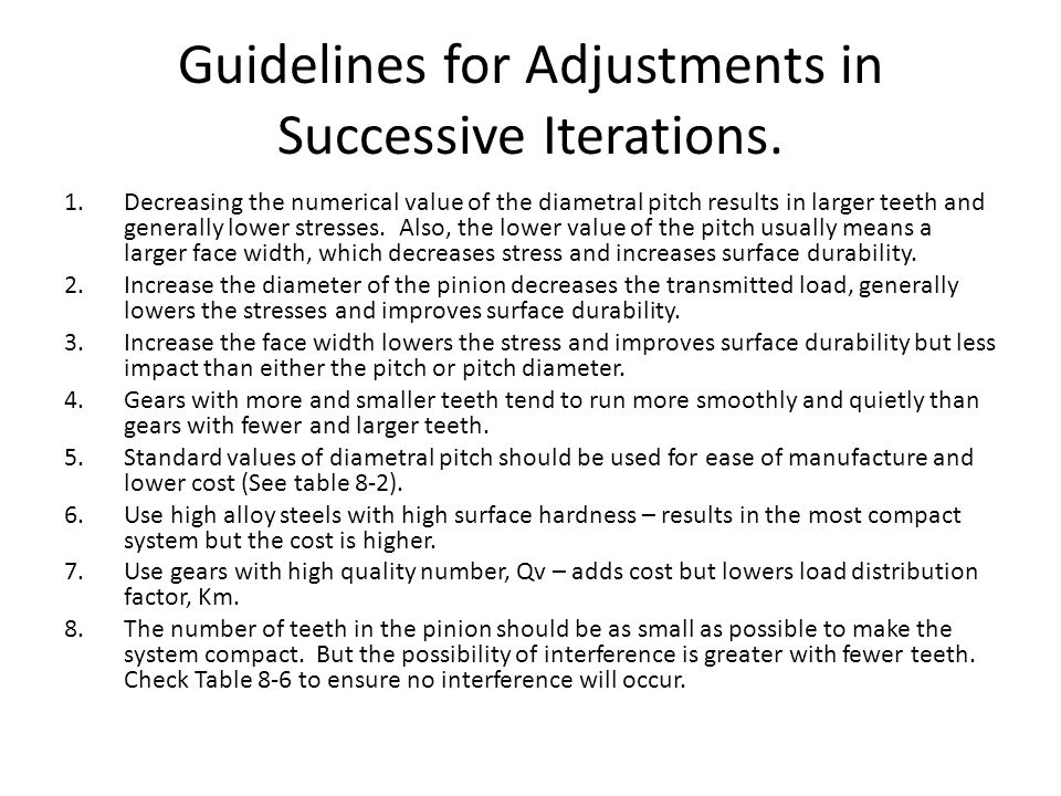 Guidelines for Adjustments in Successive Iterations.