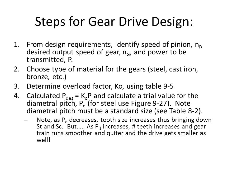 Steps for Gear Drive Design:
