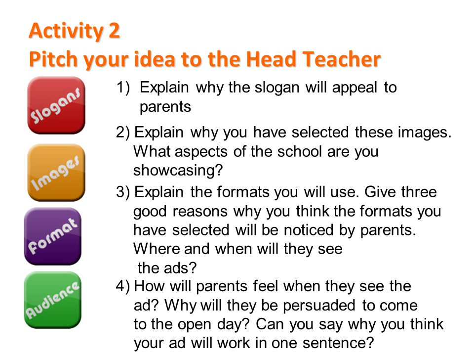 Activity 2 Pitch your idea to the Head Teacher
