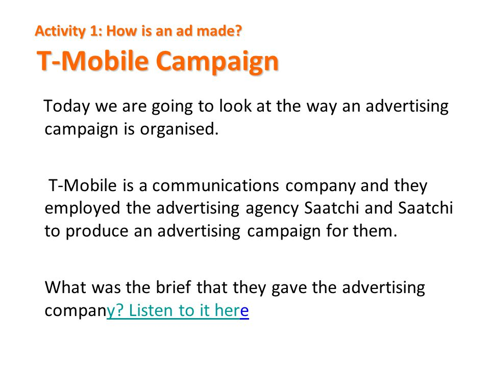 Activity 1: How is an ad made