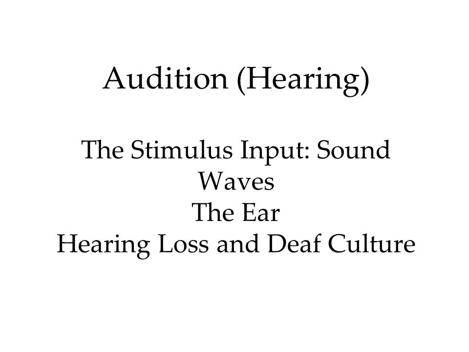 Audition (Hearing) The Stimulus Input: Sound Waves The Ear Hearing Loss and Deaf Culture