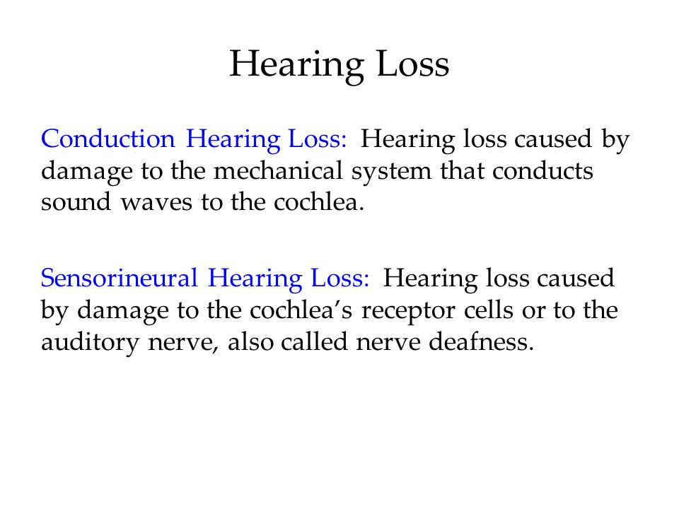 Hearing Loss Conduction Hearing Loss: Hearing loss caused by damage to the mechanical system that conducts sound waves to the cochlea.