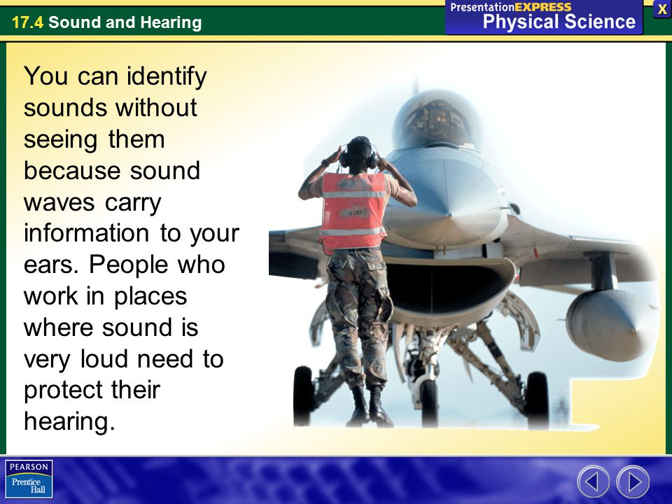 You can identify sounds without seeing them because sound waves carry information to your ears.