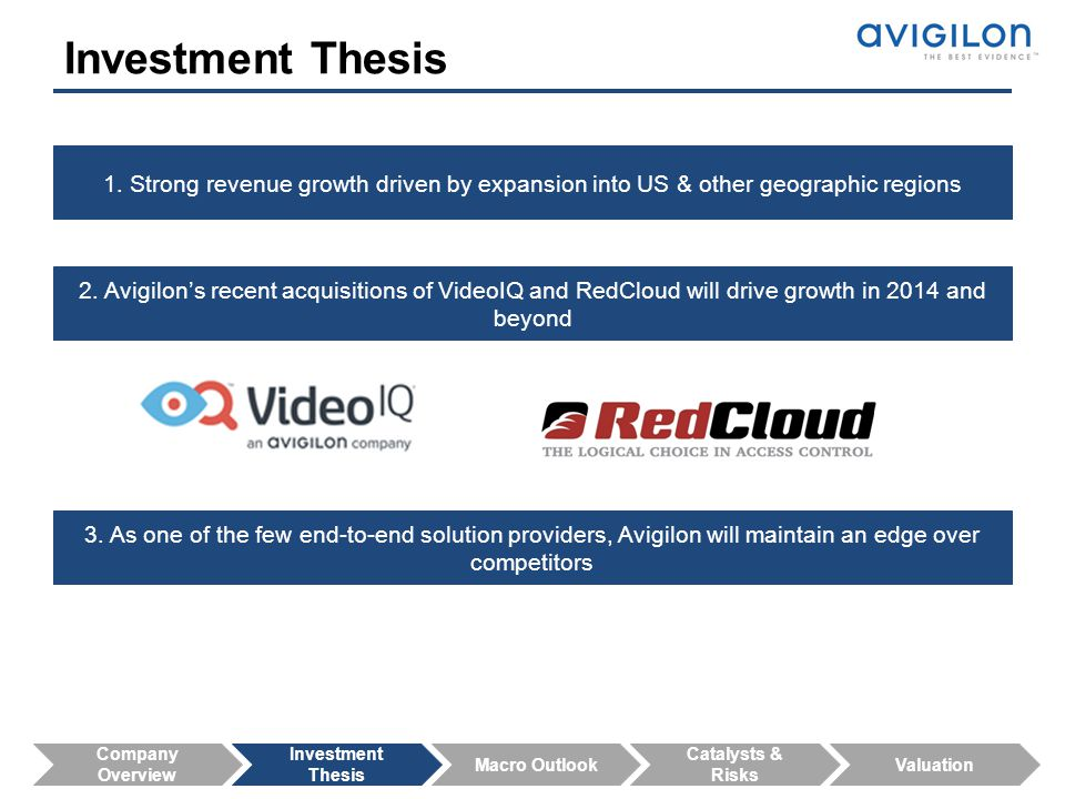 Investment Thesis 1. Strong revenue growth driven by expansion into US & other geographic regions.