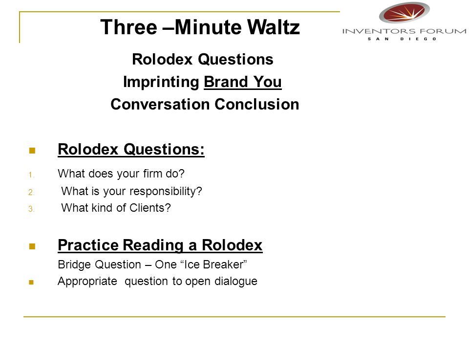 Three –Minute Waltz Rolodex Questions Imprinting Brand You