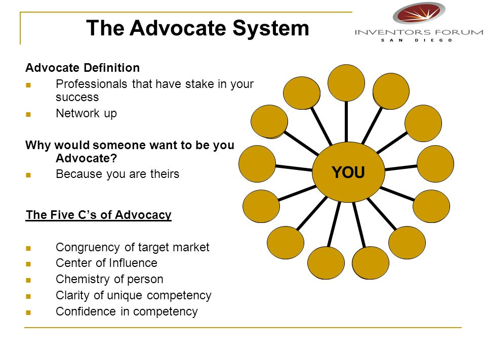 The Advocate System YOU Advocate Definition