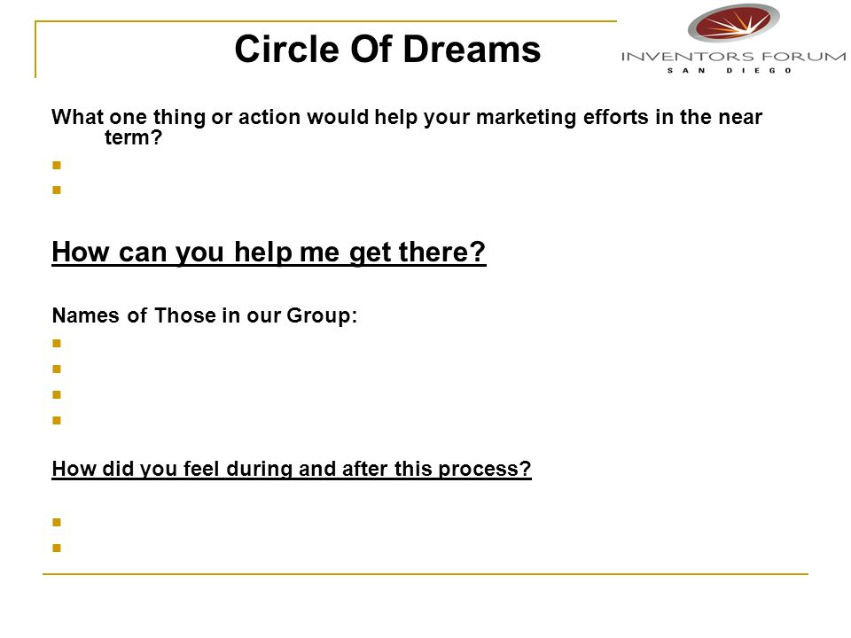 Circle Of Dreams How can you help me get there