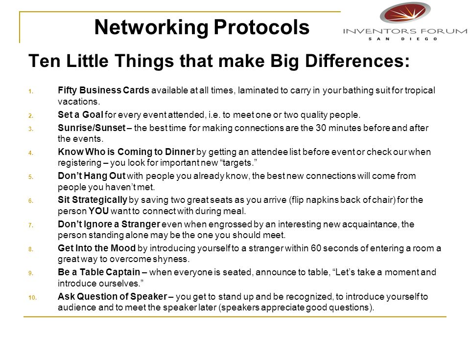 Networking Protocols Ten Little Things that make Big Differences:
