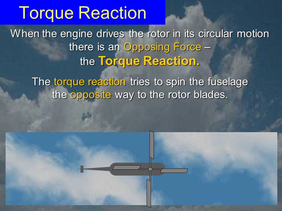 Torque Reaction When the engine drives the rotor in its circular motion. there is an Opposing Force –