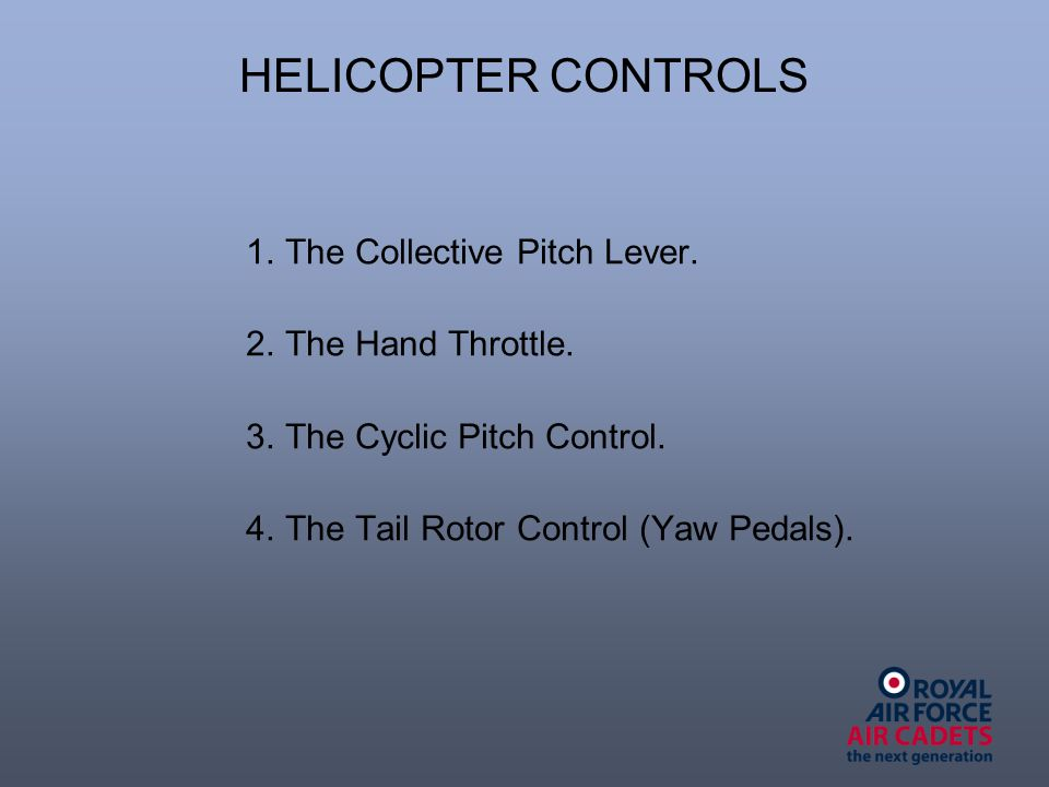 HELICOPTER CONTROLS 1. The Collective Pitch Lever.