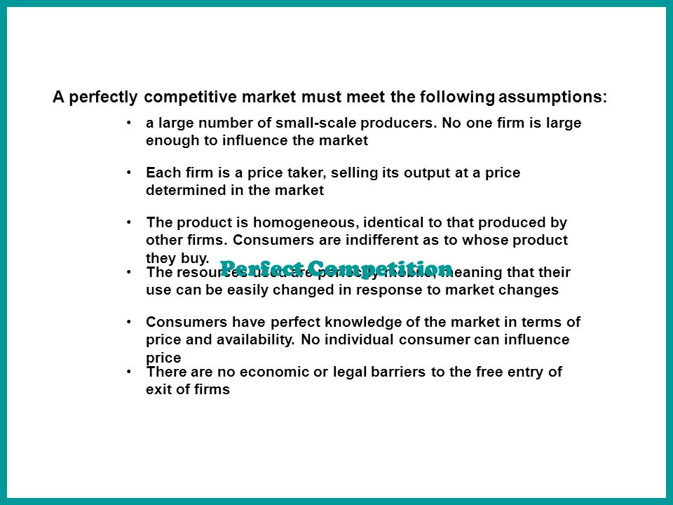 Market Structures And Marginal Analysis Perfect Competition. - Ppt