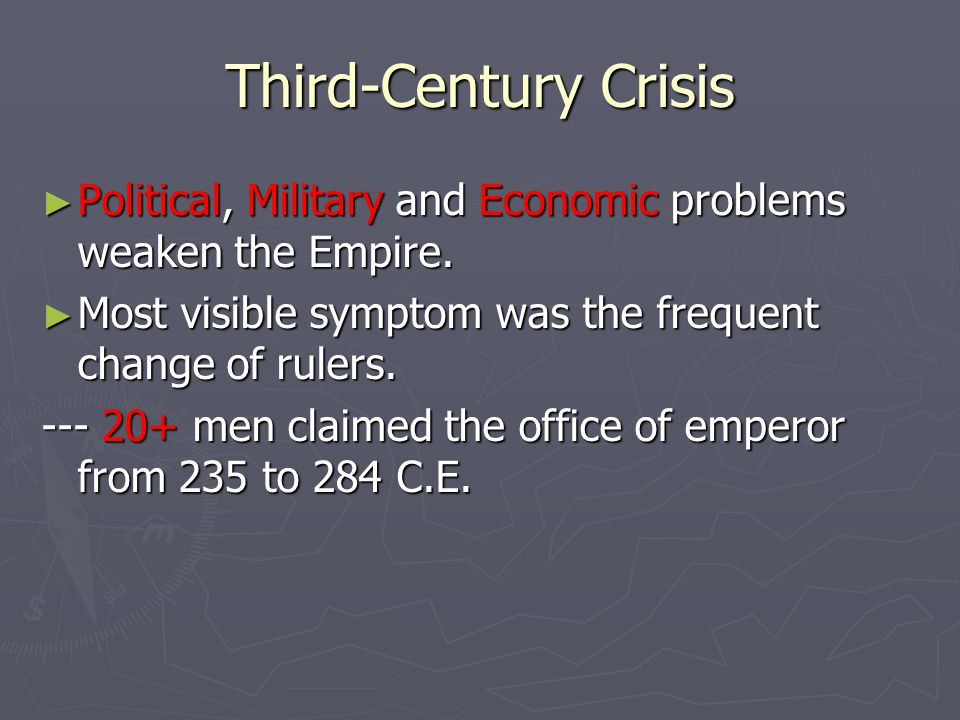 crisis of the third century On jan 1, 1975, m cary dlitt (and others) published the chapter: the crisis of the empire in the third century in the book: a history of rome.