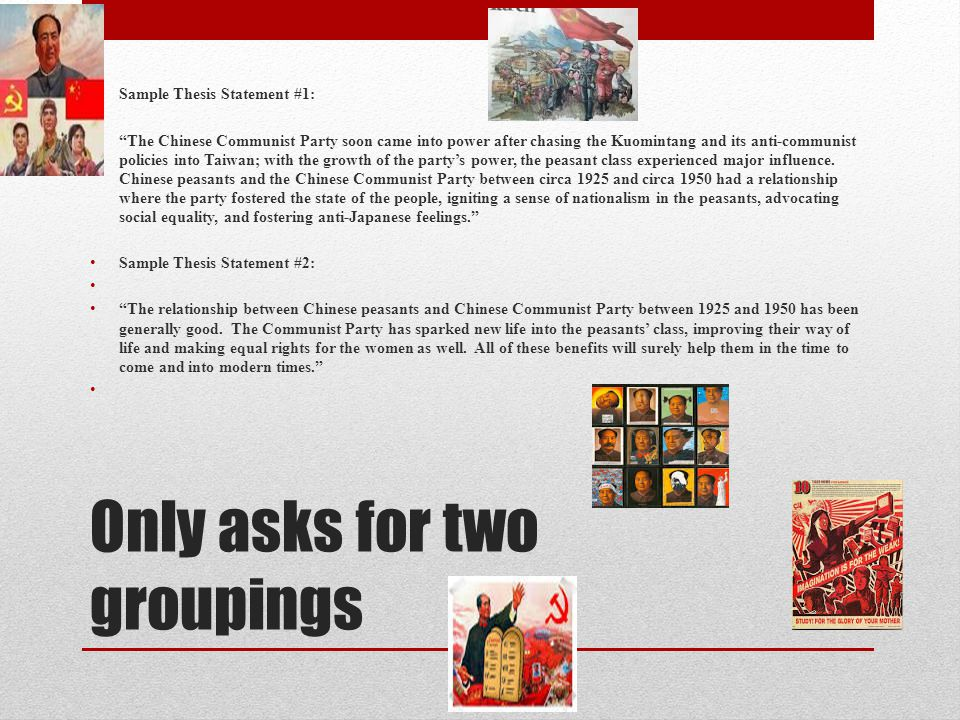chinese communism dbq In the 1920s some chinese found an explanation for china's subjugation by the imperialist powers and hopes for china's  welcome to the communist china webquest.