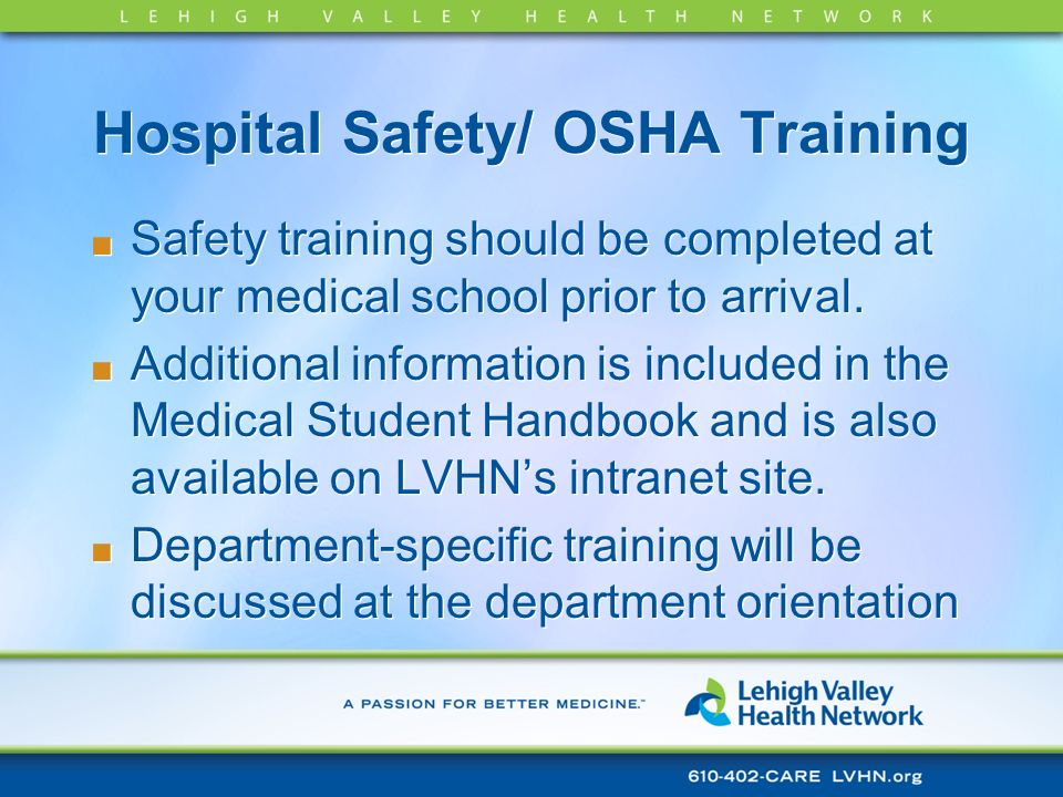 Hospital Safety/ OSHA Training