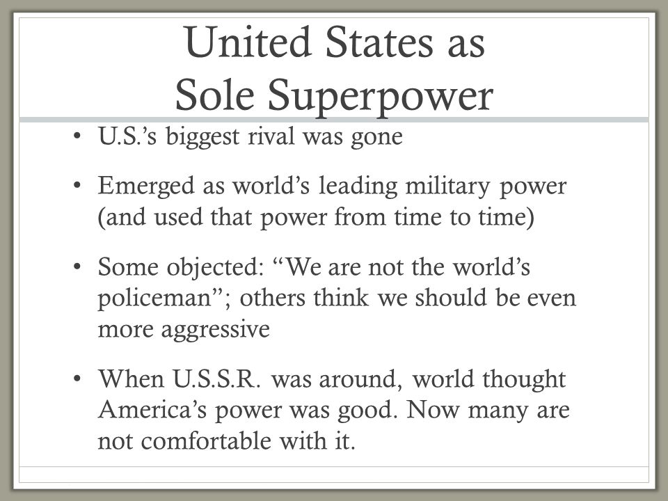 the us as a sole superpower essay