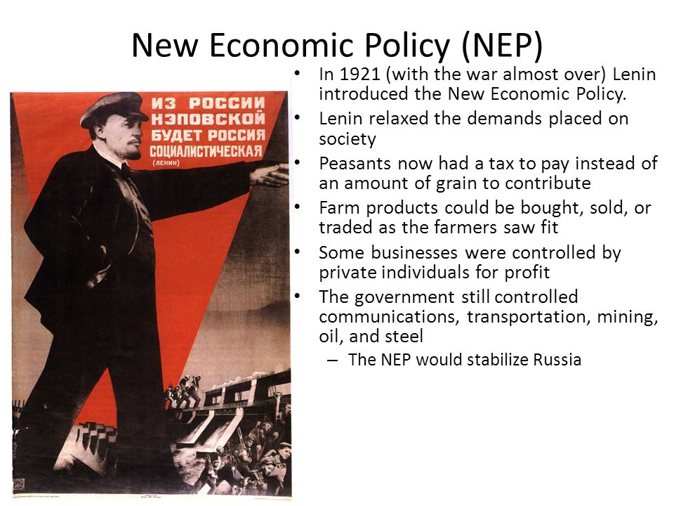 the economy of russia before lenin Vladimir lenin was the architect of russia's 1917 bolshevik revolution and the first leader of the union of soviet socialist republics a prominent marxist, lenin was born in 1870 in russia with .