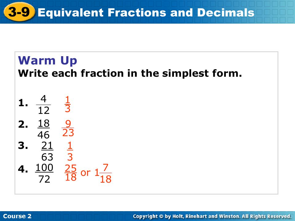3-9 Equivalent Fractions and Decimals Warm Up Problem of the Day ...