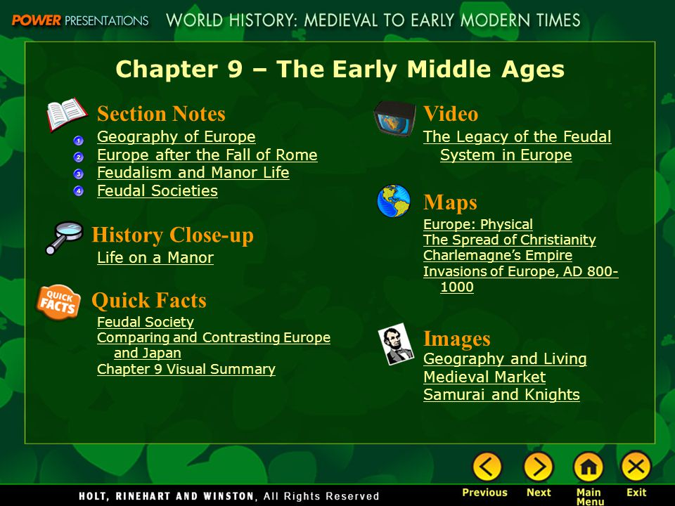 Chapter 9 – The Early Middle Ages