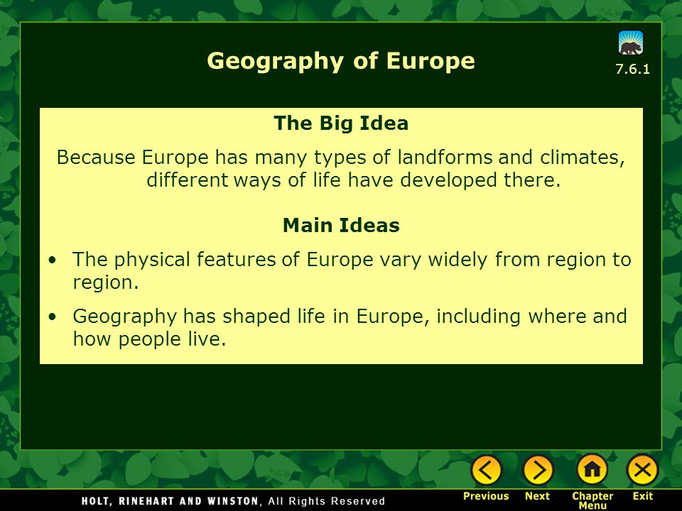 Geography of Europe The Big Idea