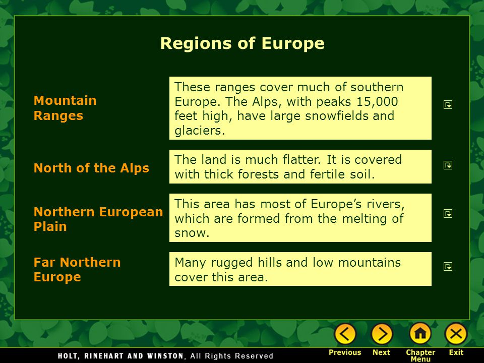 Regions of Europe These ranges cover much of southern Europe. The Alps, with peaks 15,000 feet high, have large snowfields and glaciers.